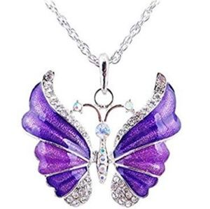 New Women's Butterfly Silver Necklace